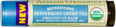 Baño, Belleza, Cuidado Labial, Bálsamo Labial Avalon Organics, Organic Lip Balm, Peppermint Green Tea.15 oz (4.2 g)