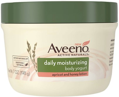 Salud, Piel, Mantequillas Para El Cuerpo Aveeno, Active Naturals, Daily Moisturizing Body Yogurt, Apricot and Honey Lotion, 7 oz (198 g)