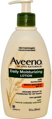 Baño, Belleza, Protector Solar, Spf 05-25, Cuerpo Aveeno, Active Naturals, Daily Moisturizing Lotion with Sunscreen, SPF 15, 12 fl oz (354 ml)