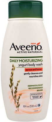 Baño, Belleza, Gel De Ducha Aveeno, Active Naturals, Daily Moisturizing Yogurt Body Wash, Apricot and Honey, 18 fl oz (532 ml)