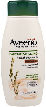Baño, Belleza, Gel De Ducha Aveeno, Active Naturals, Daily Moisturizing Yogurt Body Wash, Vanilla and Oats, 18 fl oz (532 ml)
