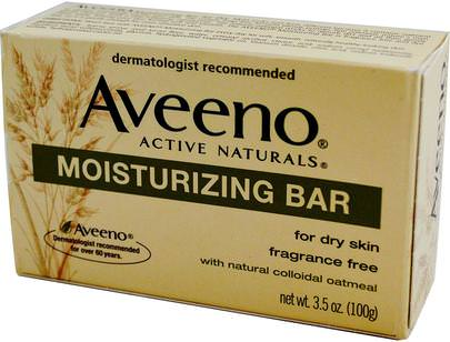 Cuidado Facial, Cuerpo Aveeno, Active Naturals, Moisturizing Bar, Fragrance Free, 3.5 oz (100 g)