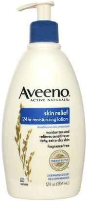 Cuerpo, Alivio De La Piel Aveeno, Active Naturals, Skin Relief 24hr Moisturizing Lotion, Fragrance Free, 12 fl oz (354 ml)