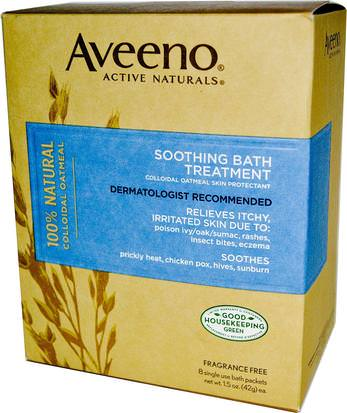 Cuerpo, Terapia De Eczema Aveeno, Active Naturals, Soothing Bath Treatment, Fragrance Free, 8 Single Use Bath Packets ,1.5 oz (42 g) Each.