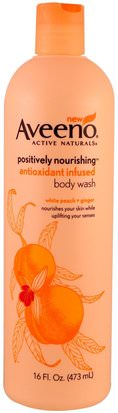 Cuerpo, Hidratación Diaria Aveeno, Positively Nourishing Antioxidant Infused Body Wash, White Peach + Ginger, 16 fl oz (473 ml)