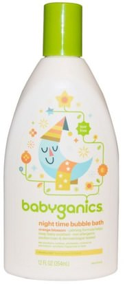 Baño, Belleza, Baño De Burbujas, Baño De Burbujas Para Niños BabyGanics, Night Time Bubble Bath, Orange Blossom, 12 fl oz (354 ml)