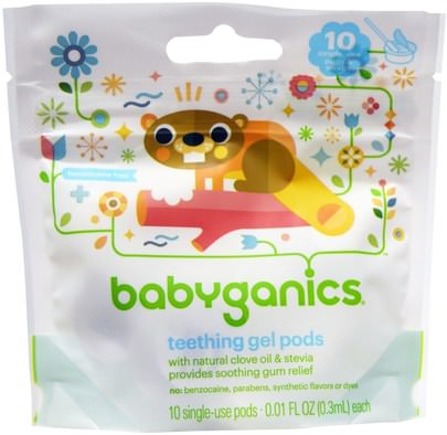 Salud De Los Niños, Dentición Del Bebé BabyGanics, Teething Gel Pods, 10 Single-Use Pods, 0.01 fl oz (0.3 ml) Each