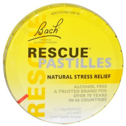 Suplementos, Homeopatía, Bach Esencias Florales Originales Rescate Bach, Original Flower Remedies, Rescue Pastilles, Natural Stress Relief, 1.7 oz (50 g)