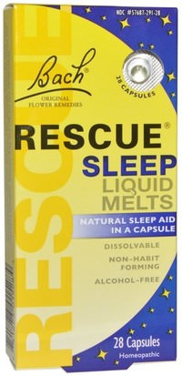 Suplementos, Homeopatía, Sueño Bach, Original Flower Remedies, Rescue Sleep Liquid Melts, 28 Capsules