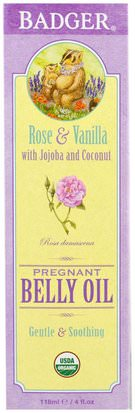 Salud, Piel, Cicatrices De Estrías, Embarazo Badger Company, Organic Pregnant Belly Oil, Rose & Vanilla, 4 fl oz (118 ml)
