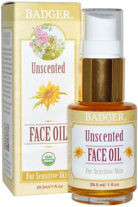 Belleza, Cuidado Facial, Tipo De Piel Rosácea, Piel Sensible Badger Company, Unscented Face Oil, For Sensitive Skin, 1 fl oz (29.5 ml)