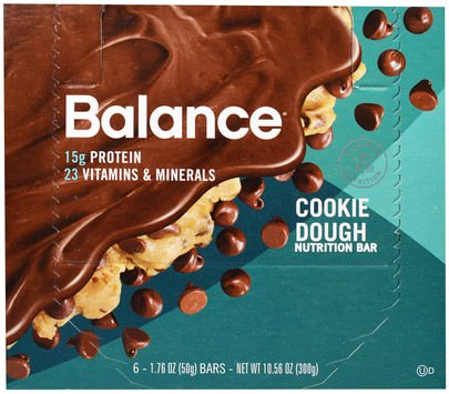 Suplementos, Barras Nutricionales, Refrigerios, Refrigerios Saludables Balance Bar, Nutrition Bar, Cookie Dough, 6 Bars, 1.76 oz (50 g) Each