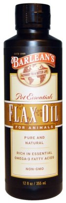 Cuidado De Mascotas, Mascotas Gatos, Mascotas Perros Barleans, Flax Oil, for Animals, 12 fl oz (355 ml)