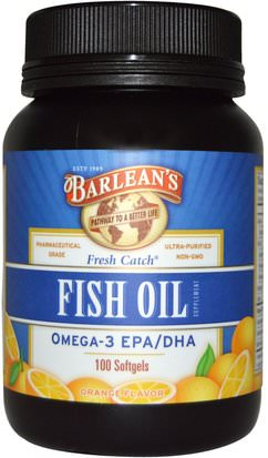 Suplementos, Efa Omega 3 6 9 (Epa Dha), Dha, Epa, Cápsulas Blandas De Aceite De Pescado Barleans, Fresh Catch, Fish Oil Supplement, Omega-3 EPA/DHA, Orange Flavor, 100 Softgels