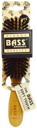 Baño, Belleza, Cepillos Para El Cabello, Cabello, Cuero Cabelludo Bass Brushes, Semi Oval (soft) 100% Wild Boar Bristles, Wood Handle For Fine Hair, 1 Hair Brush
