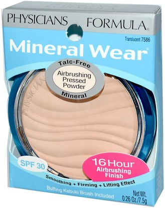 Physicians Formula, Inc., Mineral Wear, Airbrushing Pressed Powder, Translucent, SPF 30, 0.26 oz (7.5 g) Baño, Belleza, Maquillaje, Polvo Compacto
