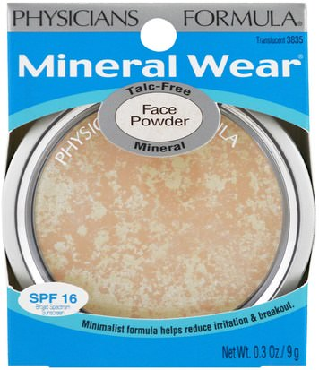 Physicians Formula, Inc., Mineral Wear, Face Powder, Translucent, SPF 16, 0.3 oz (9 g) Baño, Belleza, Maquillaje, Polvo Compacto