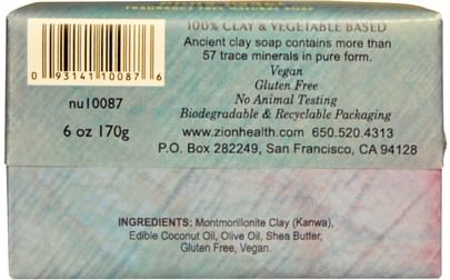Zion Health, Ancient Clay Natural Soap, Moon Dance, Fragrance Free, 6 oz (170 g) Baño, Belleza, Jabón