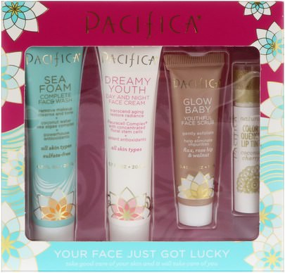 Pacifica, Your Face Just Got Lucky Set, 4 Pieces Belleza, Cuidado Facial, Piel, Baño, Lápiz De Labios, Brillo, Liner