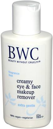 Baño, Belleza, Maquillaje Beauty Without Cruelty, Creamy Eye & Face Makeup Remover, 4 fl oz (118 ml)