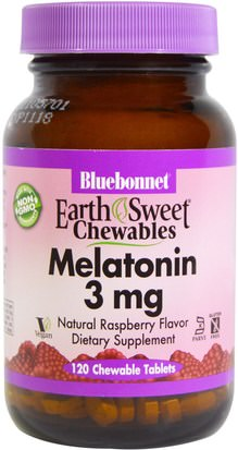 Suplementos, Melatonina 3 Mg Bluebonnet Nutrition, EarthSweet Chewables, Melatonin, Natural Raspberry Flavor, 3 mg, 120 Chewable Tablets