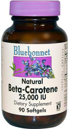 Vitaminas, Suplementos, Carotenoides Bluebonnet Nutrition, Natural Beta-Carotene, 25,000 IU, 90 Softgels