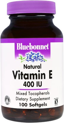 Vitaminas, Vitamina E Bluebonnet Nutrition, Natural Vitamin E, 400 IU, 100 Softgels