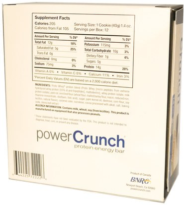 Deportes, Barras De Proteína BNRG, Power Crunch Protein Energy Bar, Cookies and Crme, 12 Bars, 1.4 oz (40 g) Each