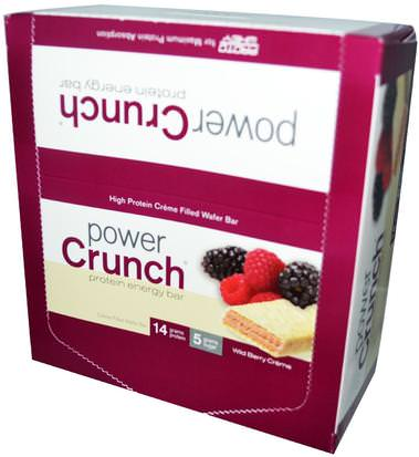 Deportes, Barras De Proteína BNRG, Power Crunch Protein Energy Bar, Wild Berry Creme, 12 Bars, 1.4 oz (40 g) Each