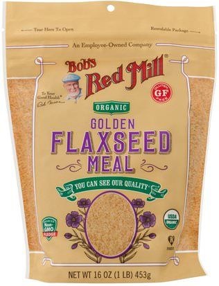 Suplementos, Semillas De Lino Bobs Red Mill, Organic Golden Flaxseed Meal, 16 oz (453 g)
