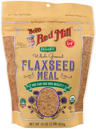Suplementos, Semillas De Lino Bobs Red Mill, Organic Whole Ground Flaxseed Meal, 16 oz (453 g)