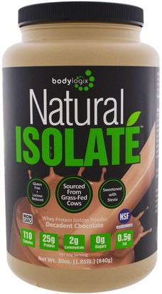 Deportes, Suplementos, Proteína De Suero De Leche Bodylogix, Natural Isolate Whey Protein Powder, Decadent Chocolate, 30 oz (840 g)