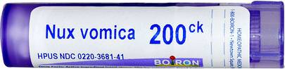 Tos Y Garganta, Circulatorio Boiron, Single Remedies, Nux Vomica, 200CK, Approx 80 Pellets