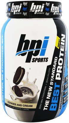 Deportes, Suplementos, Proteína De Suero De Leche BPI Sports, Best Protein, Advanced 100% Protein Formula, Cookies and Cream, 2.1 lbs (952 g)