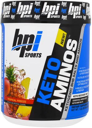Comida, Keto Amigable, Deportes BPI Sports, Keto Aminos, Ketogenic BHB Salts And Aminos, Tropical Freeze, 1.32 lbs (600 g)