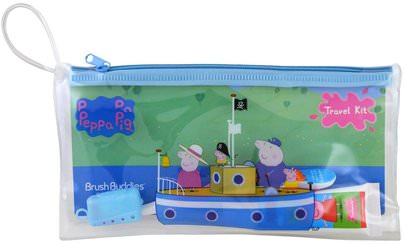 Salud De Los Niños, Cuidado Oral Del Bebé Brush Buddies, Peppa Pig, Toothbrushing Travel Kit, 3 Piece Kit