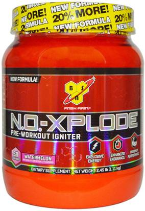 Salud, Energía, Deportes, Entrenamiento BSN, N.O.-Xplode, Pre-Workout Igniter, Watermelon, 2.45 lbs (1.11 kg)