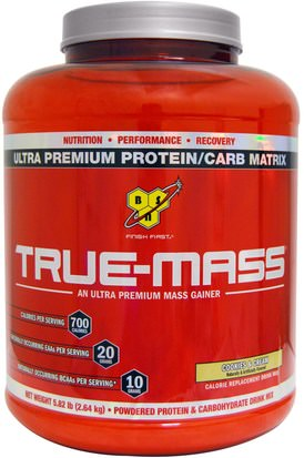 Deportes, Entrenamiento BSN, True-Mass, Powdered Protein & Carbohydrate Drink Mix, Cookies & Cream, 5.82 lbs (2.64 kg)