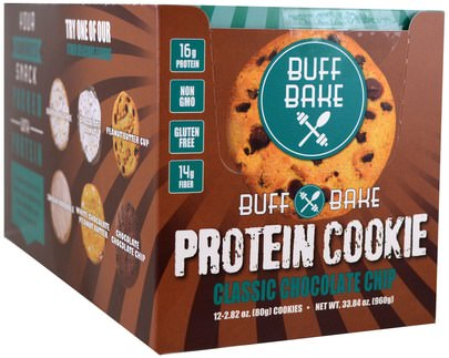 Deportes, Barras De Proteína Buff Bake, Protein Cookie, Classic Chocolate Chip, 12 Cookies, 2.82 oz (80 g) Each
