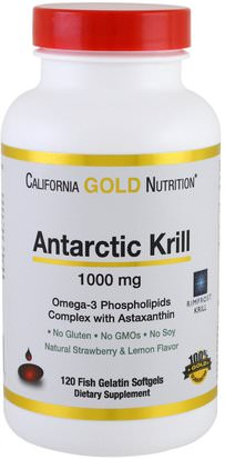 Aceite De Krill Cgn, Suplementos, Efa Omega 3 6 9 (Epa Dha) California Gold Nutrition, CGN, Antarctic Krill Oil, with Astaxanthin, RIMFROST, Natural Strawberry & Lemon Flavor, 1000 mg, 120 Fish Gelatin Softgels