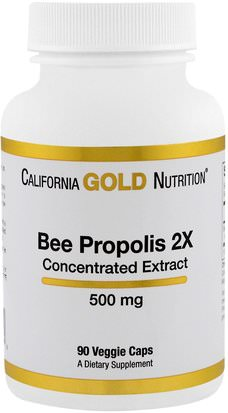Cgn Abeja Propóleos, Suplementos, Superalimentos California Gold Nutrition, CGN, Bee Propolis 2X, Concentrated Extract, 500 mg, 90 Veggie Caps