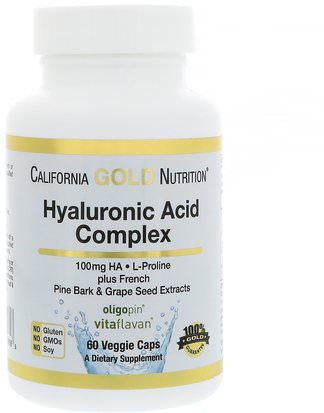 Salud, Hueso, Osteoporosis, Anti Envejecimiento, Salud De Las Articulaciones California Gold Nutrition, CGN, Hyaluronic Acid, with L-Proline + French Pine Bark & Grape Seed Extracts, 100 mg, 60 Veggie Caps