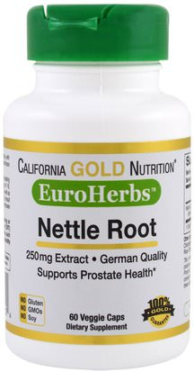 Cgn Euroherbs, Hierbas California Gold Nutrition, CGN, EuroHerbs, Nettle Root Extract, 250 mg, 60 Veggie Caps