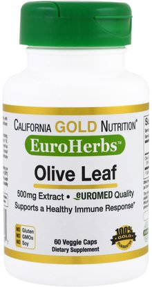Cgn Euroherbs, Salud, Hoja De Olivo California Gold Nutrition, CGN, EuroHerbs, Olive Leaf Extract, 500 mg, 60 Veggie Caps