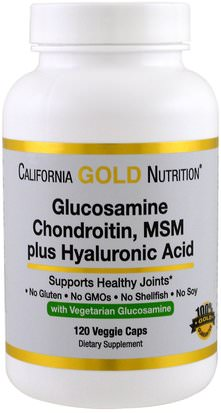 Salud, Hueso, Osteoporosis, Complejo Glucosamina Cgn, Suplementos, Glucosamina California Gold Nutrition, CGN, Vegetarian Glucosamine, Chondroitin, MSM Plus Hyaluronic Acid, 120 Veggie Caps
