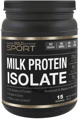 Cgn Pure Sport, Proteinas Cgn California Gold Nutrition, CGN, Milk Protein Isolate, Ultra-Low Lactose, Gluten Free, 16 oz (454 g)