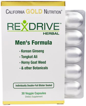 Vitaminas, Hombres Multivitaminas, Cgn Rexdrive Hombres California Gold Nutrition, CGN, Rexdrive Herbal, Mens Formula, 30 Veggie Caps