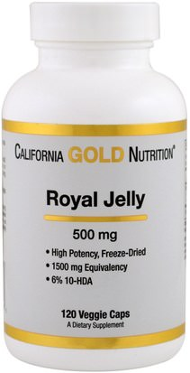 Jalea Real Cgn, Suplementos, Jalea Real California Gold Nutrition, CGN, Royal Jelly, 500 mg, 120 Veggie Caps