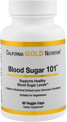 Cgn Condiciones 101, Salud, Hipoglucemia (Balance De Azúcar Saludable) California Gold Nutrition, CGN, Targeted Support, Blood Sugar 101, 60 Veggie Capsules