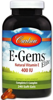 Vitaminas, Vitamina E, Vitamina E 100% Natural Carlson Labs, E-Gems Elite, Natural Vitamin E, 400 IU, 240 Soft Gels